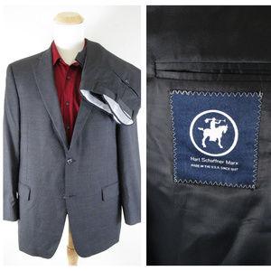 Hart Schaffner Marx Dark Charcoal Pinstripe Suit